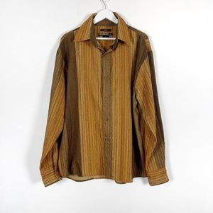 Vintage Syllables System Striped Button Down Shirt